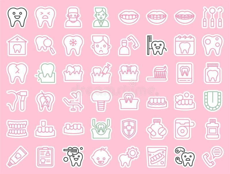 Dentysta i stomatologiczna klinika odnosić sie ikonę, majcheru konturu styl ilustracja wektor
