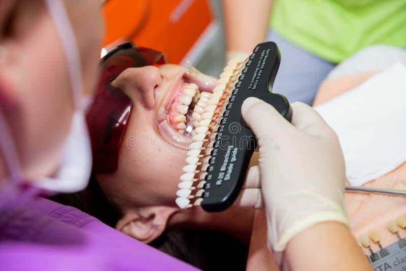 Dentysta leczy żeńskich cierpliwych kobieta zęby egzamininujących przy dentystów zębów bieleć stomatology zębów biurowa opieka i  fotografia royalty free