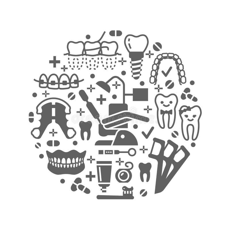 Dentysta, orthodontics medyczny sztandar z wektorowymi glif ikonami Stomatologicznej opieki wyposażenie, brasy, zębu prosthesis,  royalty ilustracja