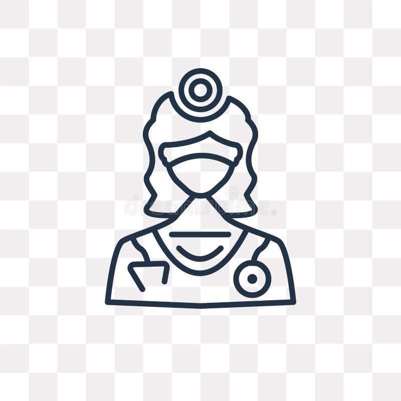 Dentysta wektorowa ikona odizolowywająca na przejrzystym tle, liniowy d ilustracji