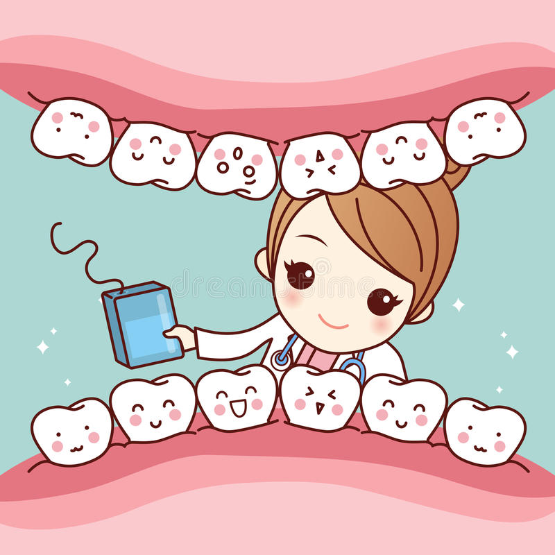 Dentysta z floss i zębem ilustracja wektor