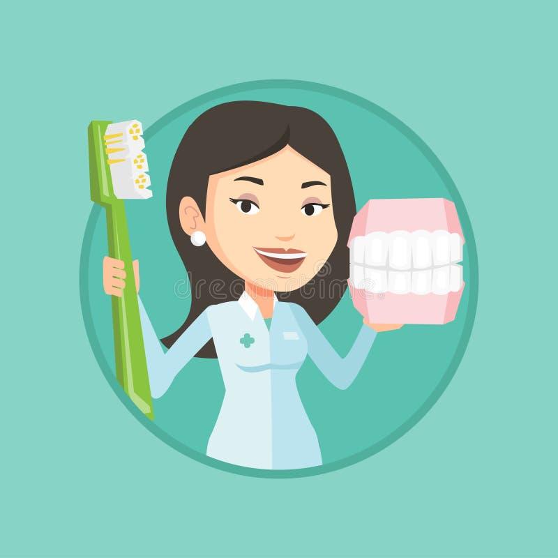 Dentysta z stomatologicznym szczęka modelem, toothbrush i ilustracja wektor