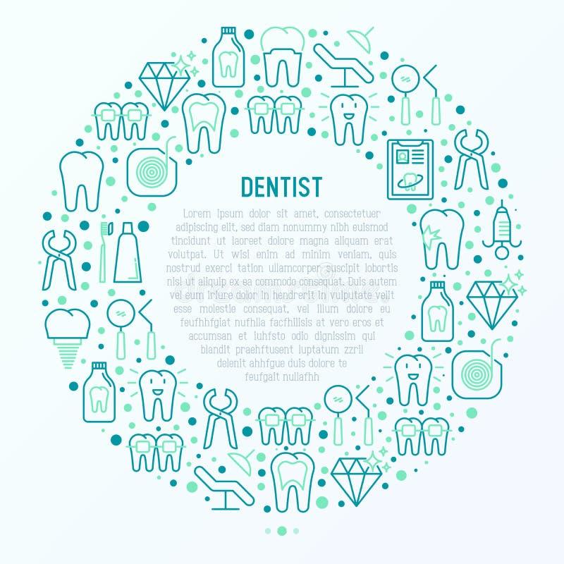 Dentysty pojęcie w okręgu z cienkimi kreskowymi ikonami ilustracja wektor