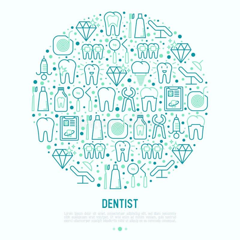 Dentysty pojęcie w okręgu z cienkimi kreskowymi ikonami ilustracji