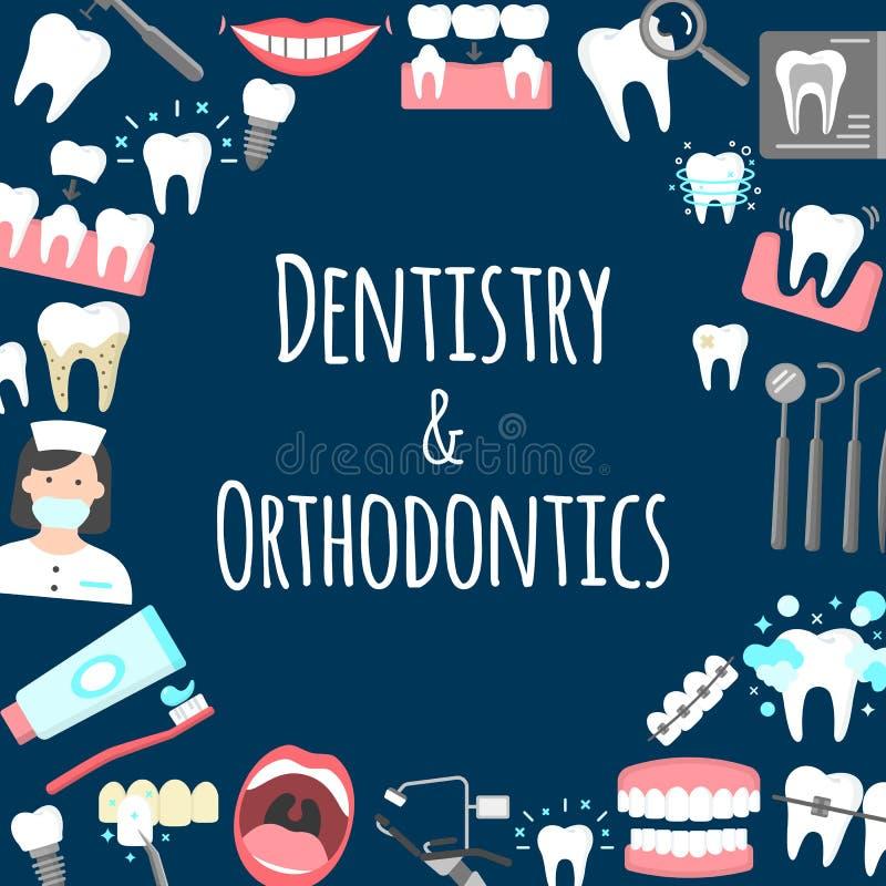 Dentystyka i orthodontics plakatowi ilustracji
