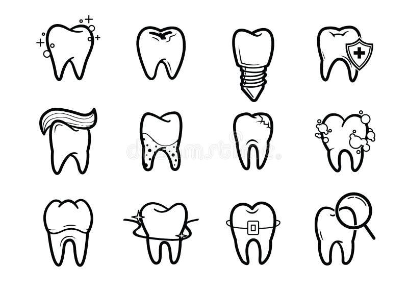 Dentystyka konturu ikony ustawiać royalty ilustracja