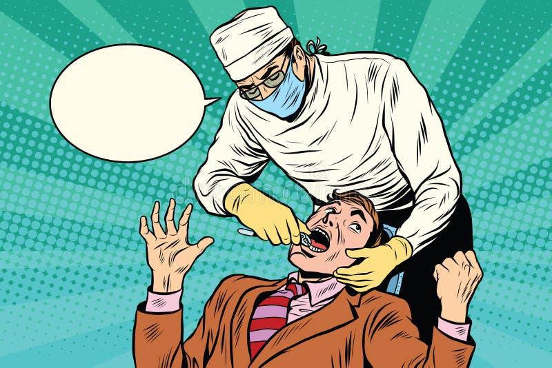 Dentystyka lekarka ciągnie out złego ząb ilustracja wektor