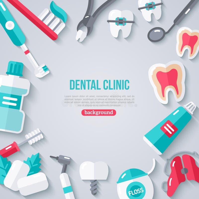 Dentystyka sztandar Z Płaskimi ikonami ilustracja wektor