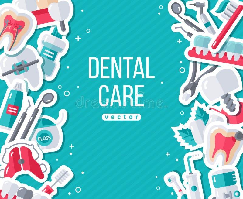 Dentystyka sztandar Z Płaskimi majcher ikonami ilustracja wektor