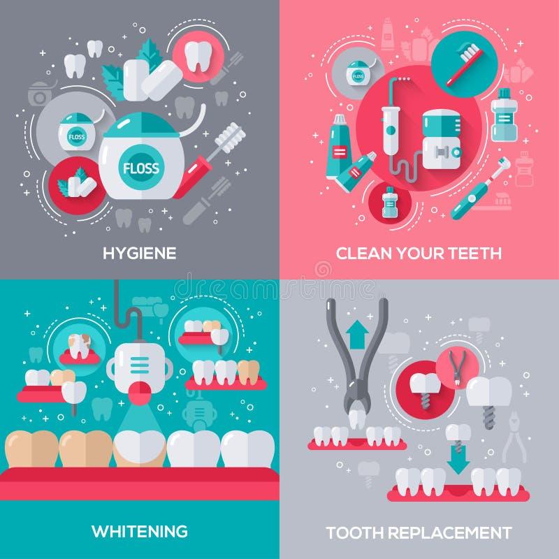 Dentystyka sztandary Ustawiający royalty ilustracja