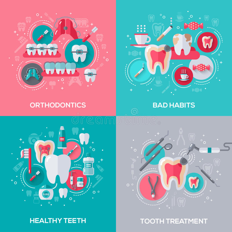 Dentystyka sztandary Ustawiający Z Płaskimi ikonami ilustracji