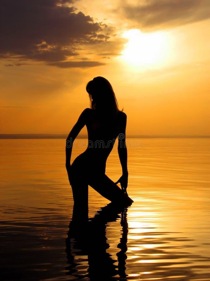 Download Denuded girl on sunset 3 stock photo. Image of feminine - 1717698
