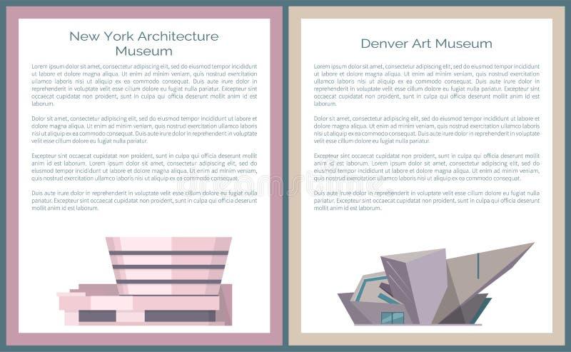 Denver Art FÖRDÄMNINGNew York arkitektur Guggenheim vektor illustrationer