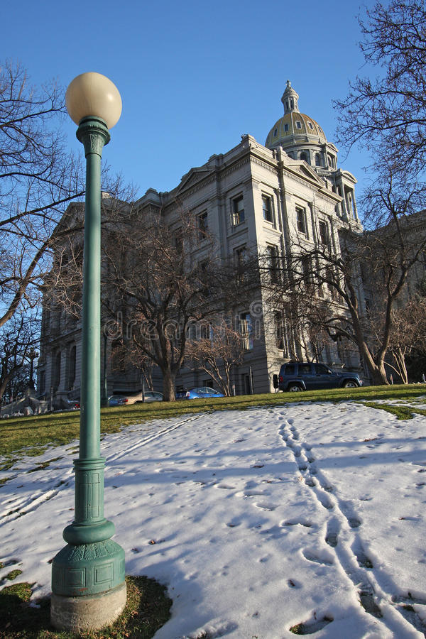 Denver Capitol Building And Snow Stock Images