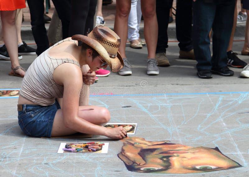 Denver Chalk Art Festival sur la place de Larimer images libres de droits