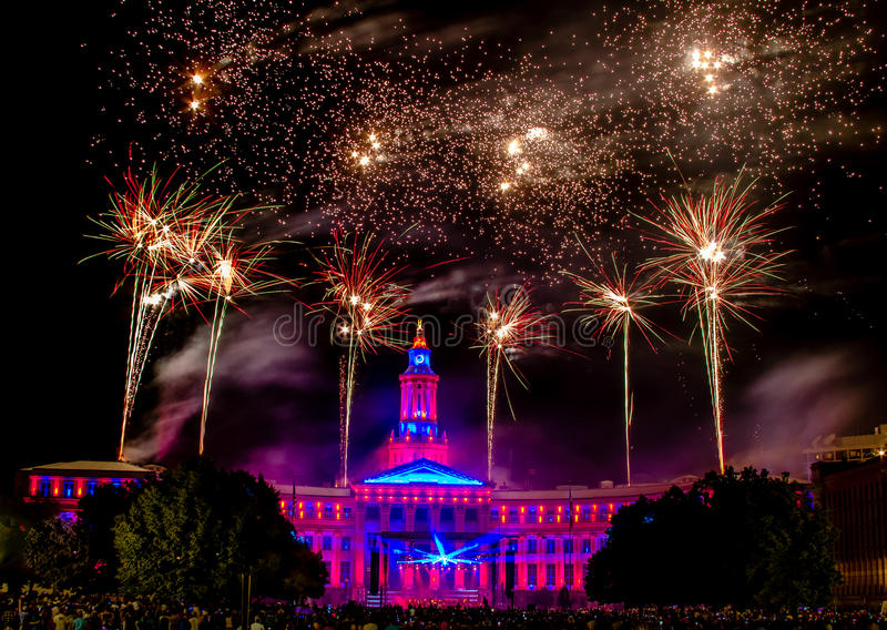 Denver CO quarto dei fuochi d'artificio di luglio fotografie stock libere da diritti