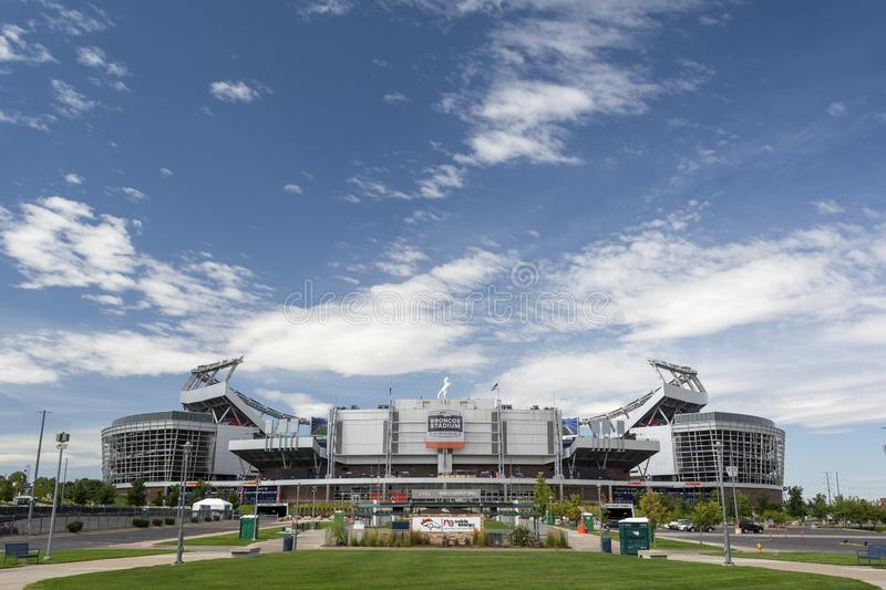 DENVER, CO, USA - August 24, 2019: Broncos Stadium at Mile High is the home of the Denver Broncos NFL football team.  stock photo