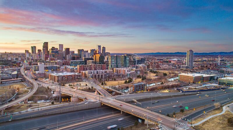 Denver Colorado CO Drone Downtown Skyline Aerial royalty free stock photo