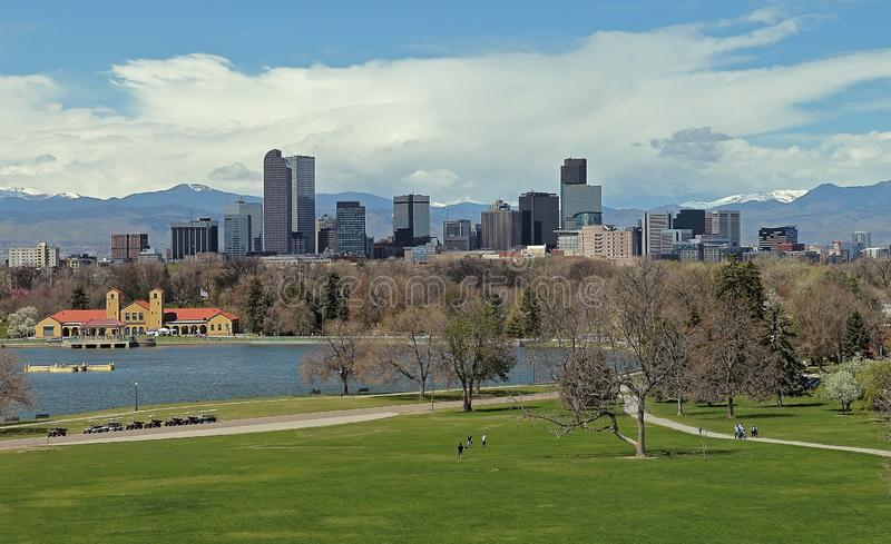 Denver downtown with City Park in a spring day stock photos