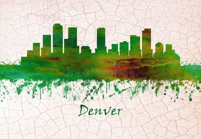 Denver Colorado horisont royaltyfri illustrationer