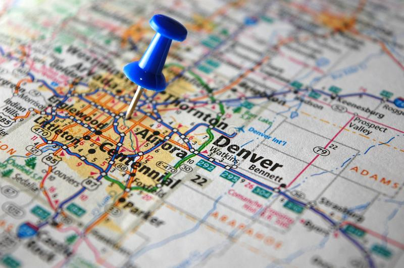 Denver, Colorado. A map of Denver, Colorado marked with a push pin stock images