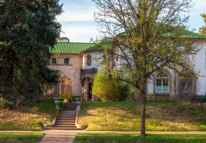 Old home with beautiful landscaping in the 6th street historic area in Denver, Colorado royalty free stock photos