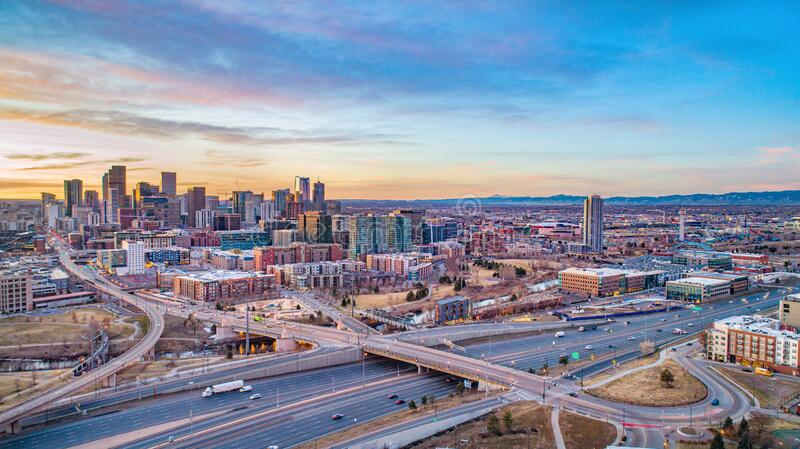 Denver, Colorado, USA Drone Skyline Aerial Panorama stock image