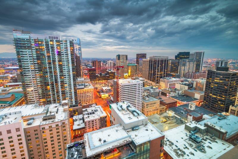 Denver Colorado, USA i stadens centrum cityscape royaltyfria foton