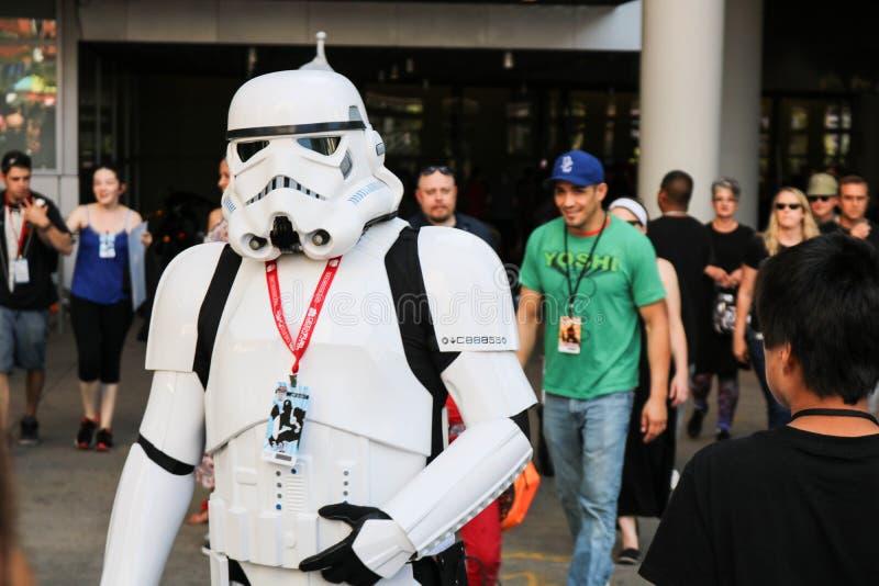 Denver, Colorado, USA - July 1, 2017: Stormtrooper at Comic Con. Stormtrooper walking out of Denver Comic Con stock photo