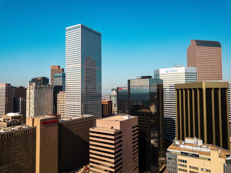 Denver, Colorado, USA- Oct,4,2017 Aerial view of downtown Denver royalty free stock image