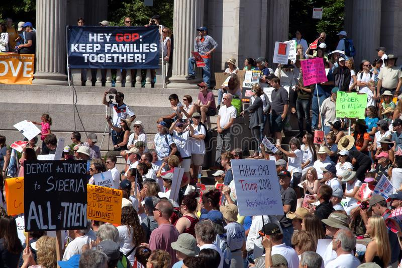 Freedom for Immigrants Mass Rally and March in Denver stock photography