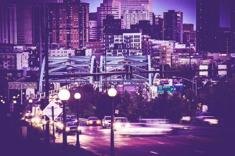 Denver Commute Colorado. Denver Commute. Downtown Denver, Speer Boulevard. Denver, Colorado United States. Ultraviolet Color Grading stock images