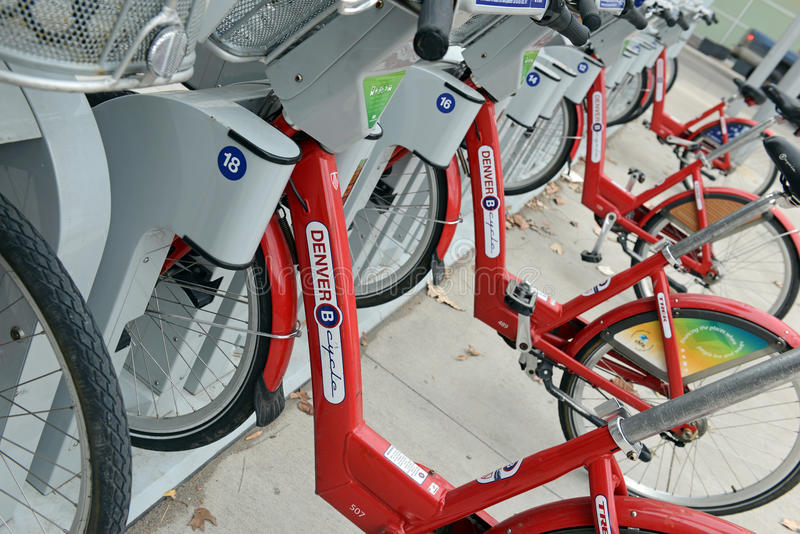 Denver Cycle, a Bicycle share program in Colorado stock image