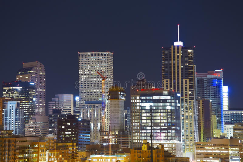 Denver downtown skyline at night, Colorado, USA.  royalty free stock photos
