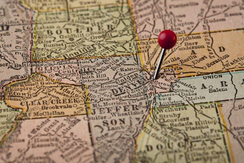 Denver en de centrale kaart van Colorado royalty-vrije stock foto's