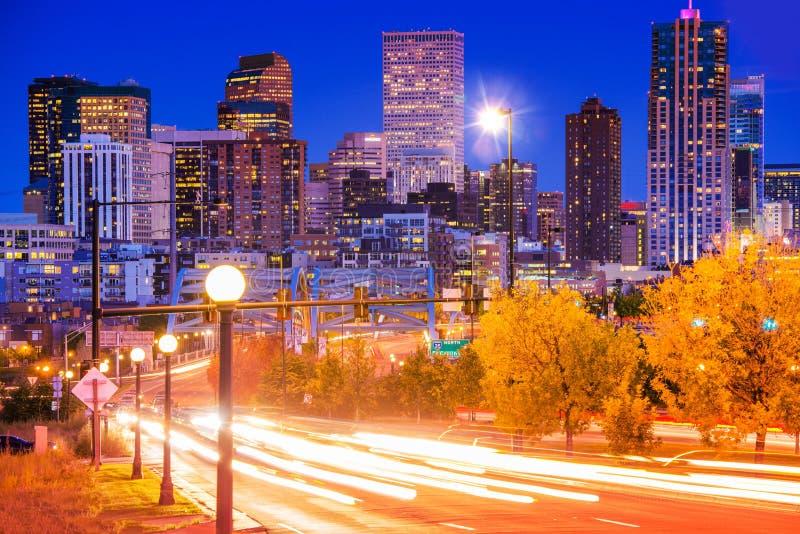 Denver Evening Traffic imágenes de archivo libres de regalías
