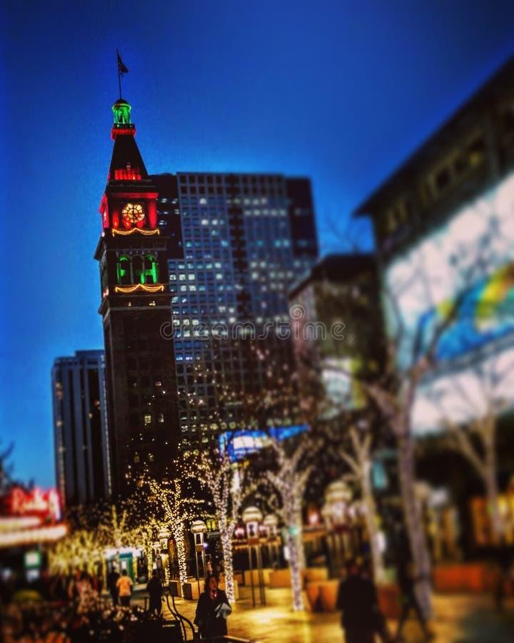 Denver historisk clocktower på jul royaltyfria foton