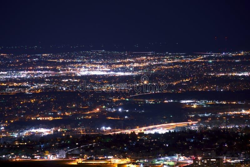 Denver Metro Night Panorama stock foto