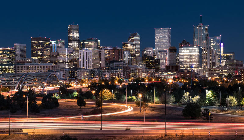 Denver Night Skyline photos libres de droits