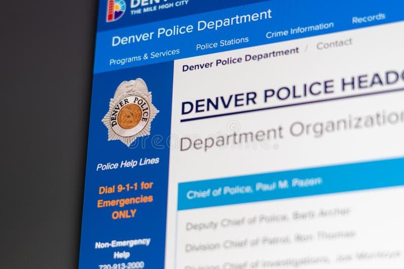 Denver Police Department website homepage. Close up of Police Department logo. Miami / USA - 05.11.2019: Denver Police Department website homepage. Close up of stock image