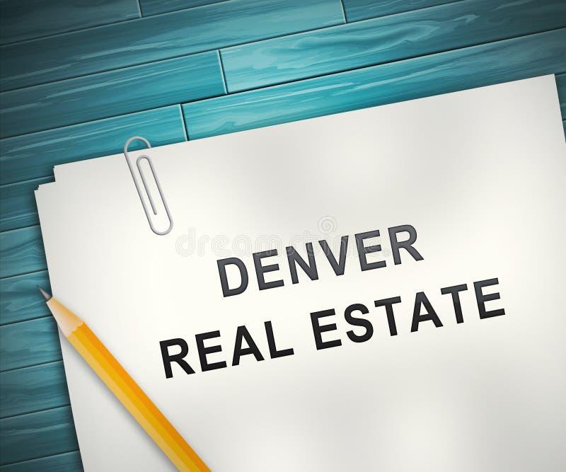 Denver Real Estate Contract Ilustra Propriedade Do Colorado E Habitação De Investimento - Ilustração 3d ilustração royalty free