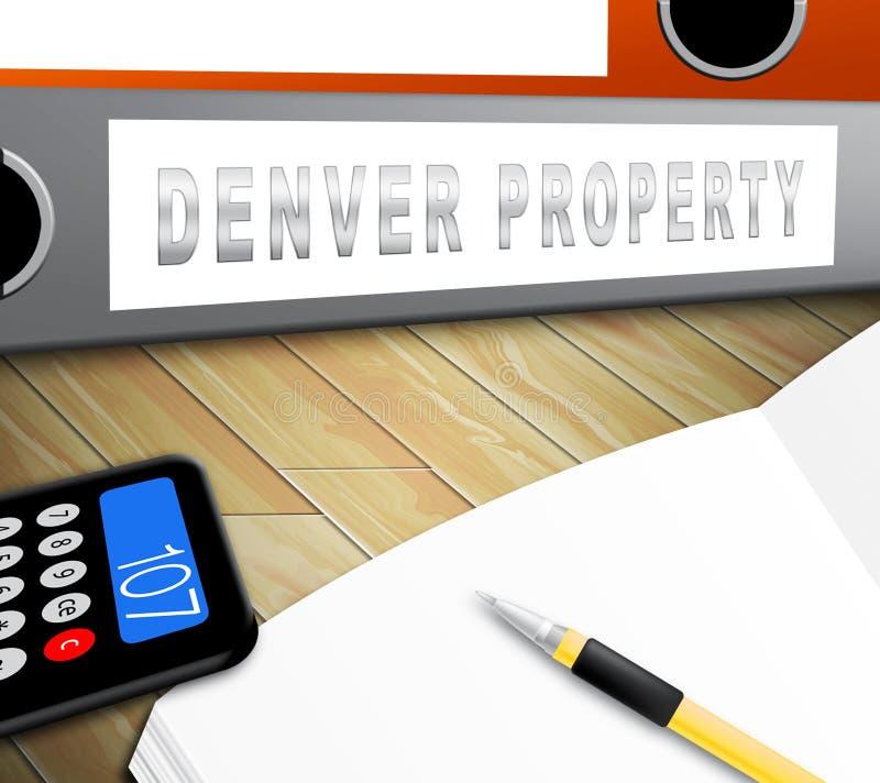 Denver Real Estate Folder Ilustra Propriedade Do Colorado E Habitação De Investimento - Ilustração 3d ilustração stock