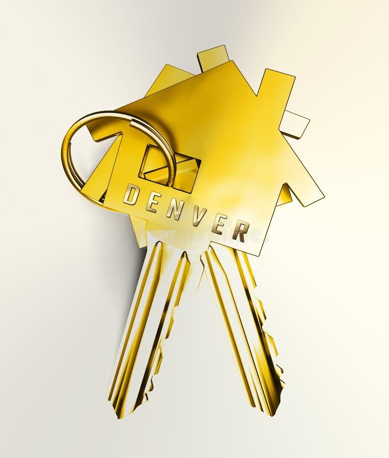 Denver Real Estate Keys Ilustra Propriedade Do Colorado E Habitação De Investimento - Ilustração 3d ilustração stock