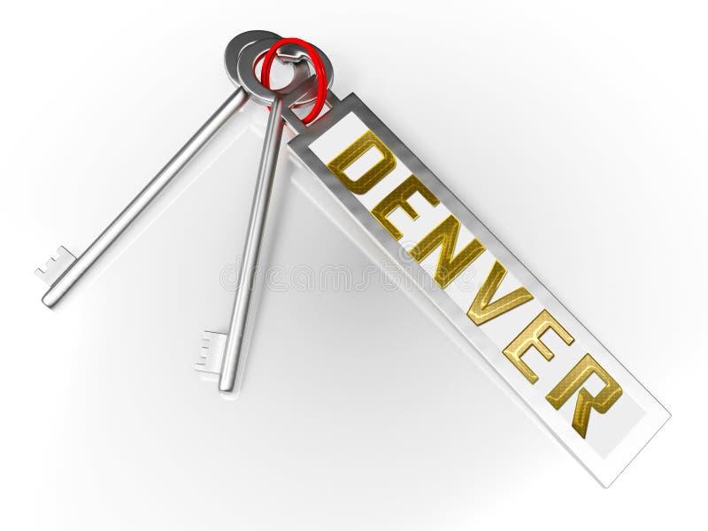 Denver Real Estate Keys Ilustra Propriedade Do Colorado E Habitação De Investimento - Ilustração 3d ilustração royalty free