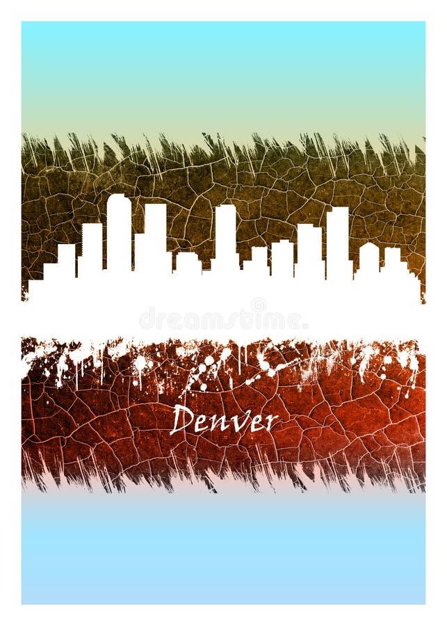 Denver Skyline Blue et blanc illustration libre de droits