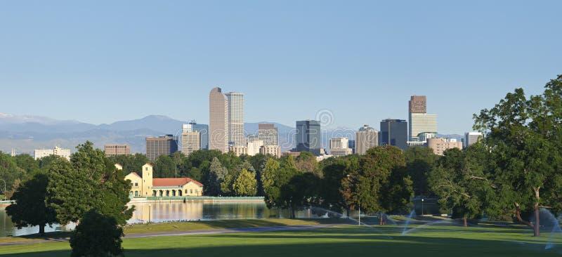 Denver Skyline from City Park stock photos