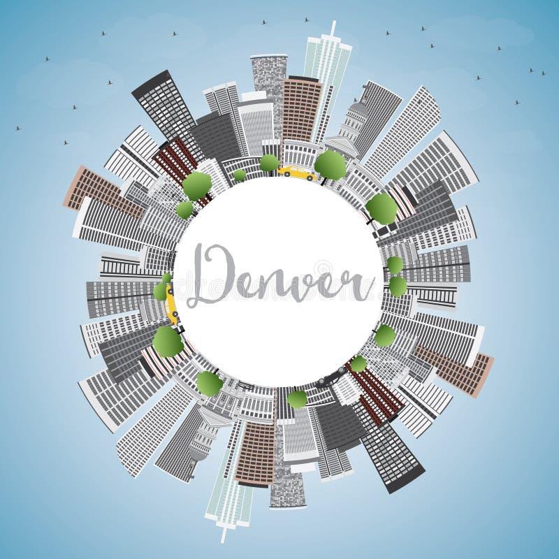Denver Skyline con Gray Buildings, el cielo azul y el espacio de la copia libre illustration