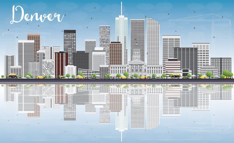 Denver Skyline con Gray Buildings, el cielo azul y reflexiones stock de ilustración