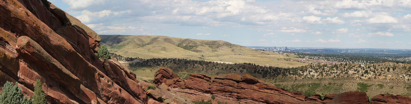 Denver Skyline de rocas rojas fotos de archivo