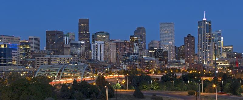 Denver Skyline at Dusk royalty free stock photos